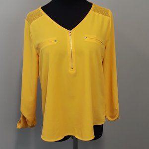Mine Mustard Yellow crochet contrast popover top